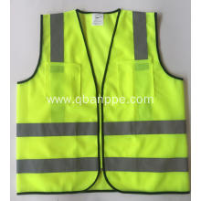 Safety Vest Pockets Zipper Breathable Neon Yellow